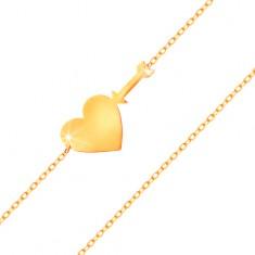 Náramek ve žlutém zlatě 585 - tenký blýskavý řetízek, lesklé ploché srdce a šíp