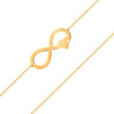 Zlatý náramek 585 - tenký řetízek, plochý symbol nekonečna se srdíčkem
