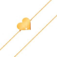 Náramek ve žlutém 14K zlatě - blýskavý tenký řetízek, přívěsek - ploché srdíčko