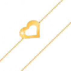 Náramek ve žlutém 14K zlatě - jemný řetízek, plochý obrys srdce, lesklý hladký povrch