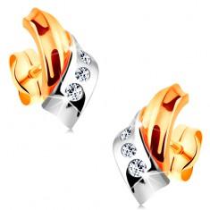 Náušnice ve 14K zlatě - prolínající se dvoubarevné oblouky, pás drobných zirkonů