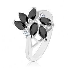 Prsten zdobený broušenými zrnky černé barvy, dva kulaté čiré zirkony S18.03