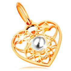 Přívěsek ve žlutém zlatě 585 - srdce zdobené obrysy srdíček a bílou perlou uprostřed
