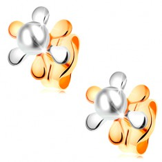 Náušnice ve 14K zlatě - kvítek s dvoubarevnými lupínky a bílou perlou