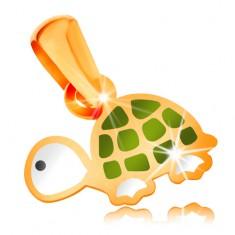 Zlatý 14K přívěsek, malá zelenobílá želva s černým očkem, lesklá glazura