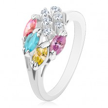Prsten zdobený kulatými čirými zirkonky a různobarevnými zrnky