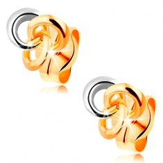 Náušnice ze 14K zlata - tři propojené prstence, dvoubarevné provedení