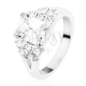 Prsten s rozdělenými rameny, čirý zirkonový obdélník, kulaté zirkony