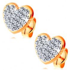 Náušnice ze žlutého 14K zlata - čiré blýskavé srdce zdobené krystalky Swarovski