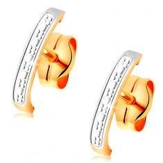 Dvoubarevné zlaté náušnice 585 - jemně gravírovaný oblouk zdobený bílým zlatem GG162.04