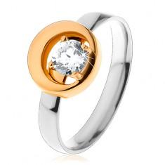 Prsten z oceli 316L, kulatý čirý zirkon v kruhu s výřezem, dvoubarevný