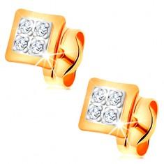 Náušnice v kombinovaném 14K zlatě - malé čtverce zdobené čirými zirkonky