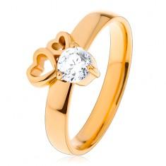 Prsten z chirurgické oceli zlaté barvy, dva obrysy srdcí, čirý zirkon
