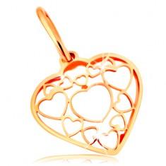 Přívěsek ve žlutém 14K zlatě - srdce zdobené obrysy menších a větších srdíček