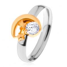 Dvoubarevný prsten z oceli 316L, srpek měsíce, dvě malé hvězdy a čirý zirkon