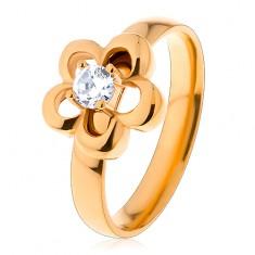 Ocelový prsten ve zlatém odstínu, kvítek, vyvýšený kulatý zirkon čiré barvy