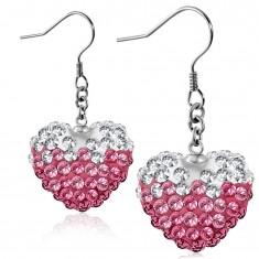 Růžovo-bílé ocelové náušnice, blýskavé srdce s čirými a růžovými zirkony, háčky