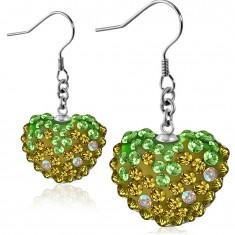 Náušnice z oceli 316L - třpytivé zeleno-zlaté zirkonové srdce, afro háčky