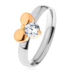 Prsten z chirurgické oceli, dvoubarevný, mašle a čirý kulatý zirkon