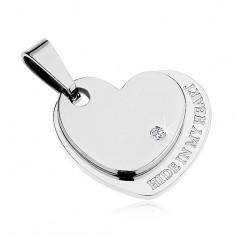 Přívěsek z chirurgické oceli, lesklé dvojité srdce stříbrné barvy, zirkon, nápis