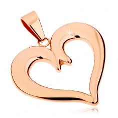 Ocelový přívěsek v měděném odstínu, kontura souměrného srdce, lesklý povrch