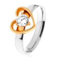 Ocelový prsten - dvoubarevné provedení, tenká kontura srdce, kulatý čirý zirkon