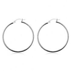 Náušnice ze stříbra 925 - lesklé hladké kruhy, vysoký lesk, 40 mm