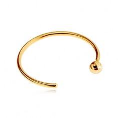 Piercing do nosu ve žlutém zlatě 585 - lesklý kroužek ukončený kuličkou