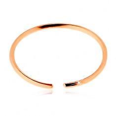 Piercing do nosu z růžového 9K zlata - lesklý tenký kroužek, hladký povrch