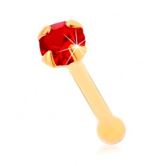 Piercing do nosu ve žlutém 14K zlatě, rovný - kulatý blýskavý zirkonek červené barvy, 1,5 mm