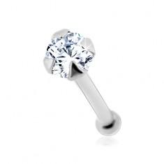 Piercing do nosu v bílém 14K zlatě - kulatý čirý zirkonek, 1,5 mm