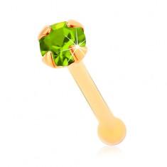 Piercing do nosu ze žlutého 14K zlata - světle zelený blýskavý zirkonek, 1,5 mm
