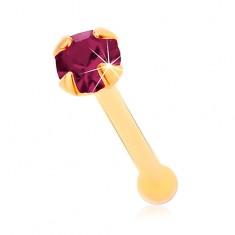 Piercing do nosu ve žlutém 14K zlatě, rovný - kulatý zirkonek fialové barvy, 1,5 mm