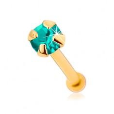 Zlatý 375 piercing do nosu, rovný - blýskavý modrozelený zirkonek, 1,5 mm
