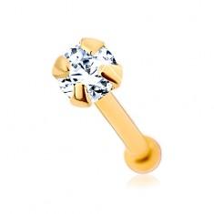 Piercing do nosu ze žlutého 9K zlata - čirý blýskavý zirkonek, 1,5 mm