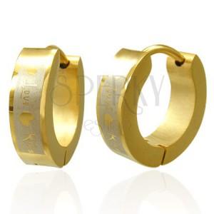 Zlaté náušnice z oceli Love Kiss
