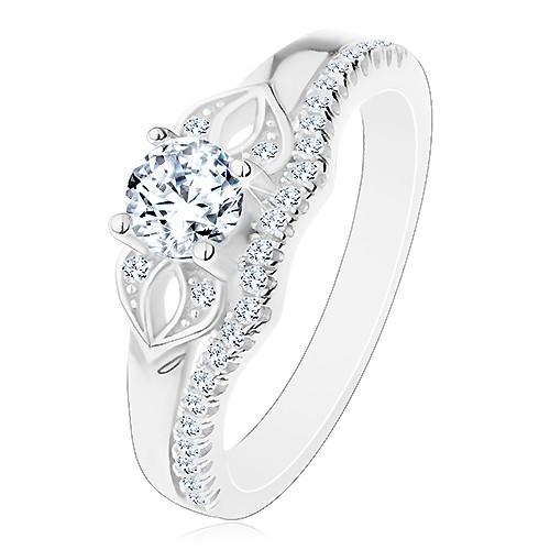 Blýskavý prsten ze stříbra 925, čirá mašlička ze zirkonů a třpytivá linie - Velikost: 66