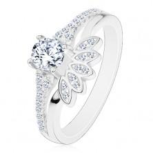 Prsten ze stříbra 925, čirý kulatý zirkon se zářivým vějířem