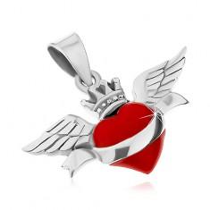 Přívěsek ze stříbra 925, červené srdce se stuhou, korunkou a křídly, patina