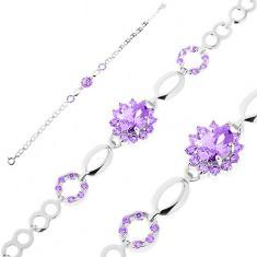Náramek ze stříbra 925, lesklé články, fialový zirkonový květ, obrysy zrnek