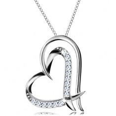 Stříbrný náhrdelník 925 - dvojitá kontura srdce, jemný řetízek