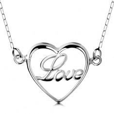 Náhrdelník ze stříbra 925, řetízek a přívěsek - tenký obrys srdíčka, nápis Love