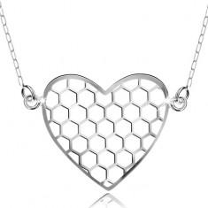 Stříbrný náhrdelník 925, přívěsek s řetízkem, šestiúhelníky v srdíčku