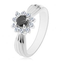 Třpytivý prsten s podlouhlými zářezy, černo-čirý květ z kulatých zirkonů
