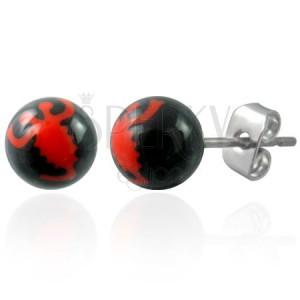 Náušnice z oceli černé kuličky - znak červený škorpión