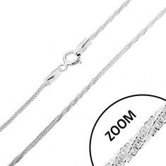 Stříbrný 925 řetízek, vzor hádek - rovné a zatočené části, 1,5 mm