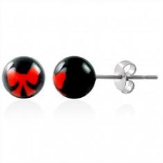 Ocelové náušnice kuličky - znak mašlička M8.35