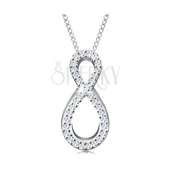 Stříbrný 925 náhrdelník, řetízek a přívěsek, osmička s čirými zirkonky