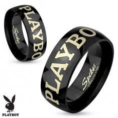 Ocelový prsten černé barvy, nápis PLAYBOY ve stříbrném odstínu, 6 mm