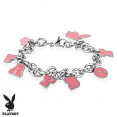 Ocelový náramek stříbrné barvy, růžové přívěsky - zajíček a nápis PLAYBOY